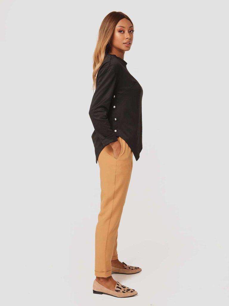 Karmelowe spodnie z gumką Love&Live (zdjęcie 3)
