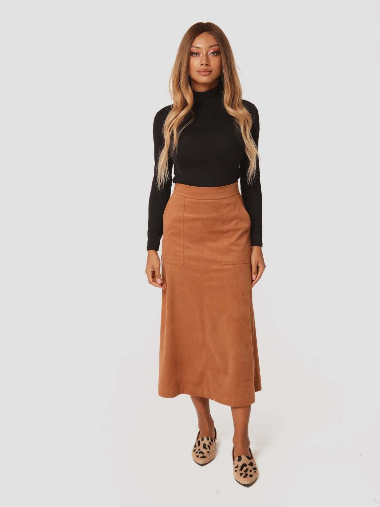 Zamszowa spódnica midi w kolorze karmelowym Katarina Ivanenko