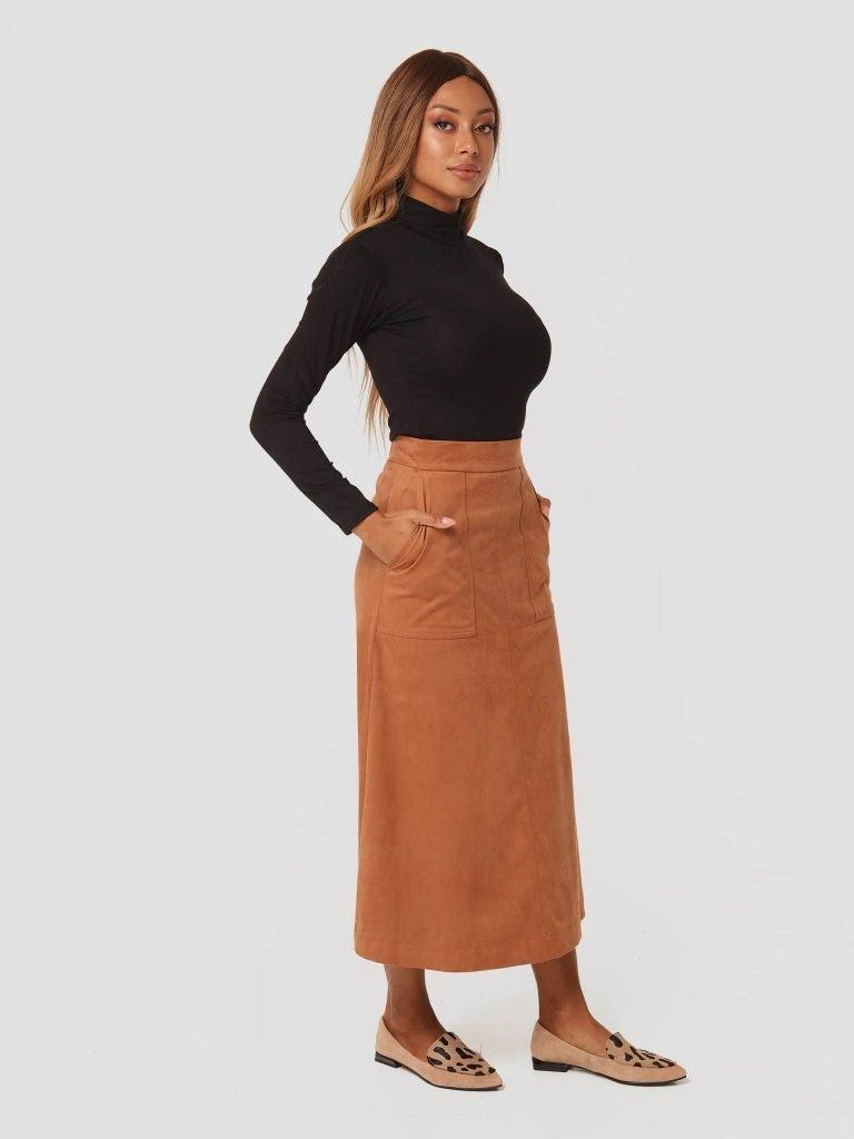 Zamszowa spódnica midi w kolorze karmelowym Katarina Ivanenko (zdjęcie 2)