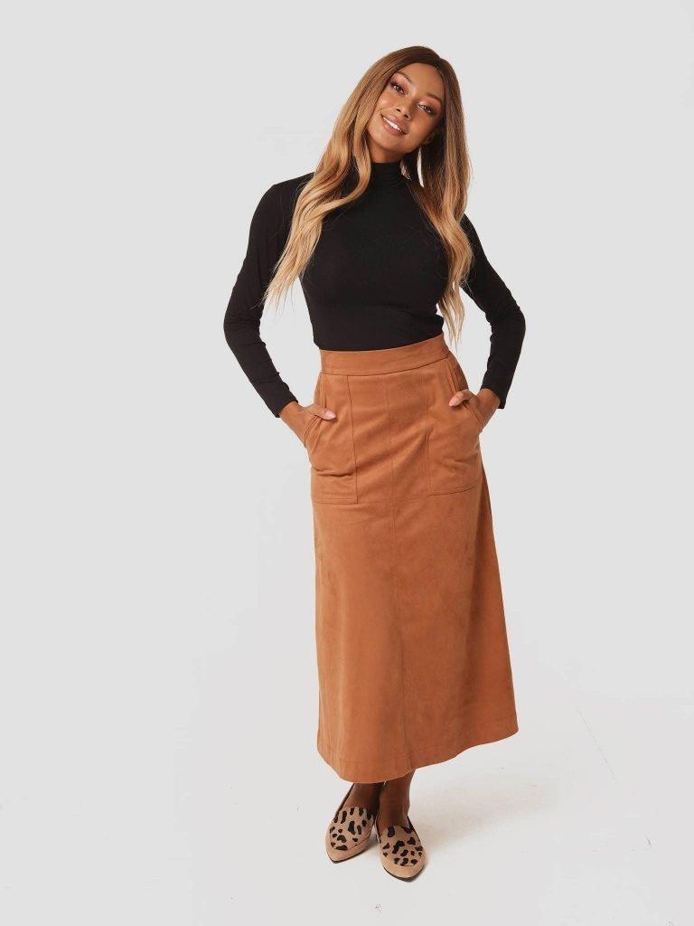 Zamszowa spódnica midi w kolorze karmelowym Katarina Ivanenko (zdjęcie 3)
