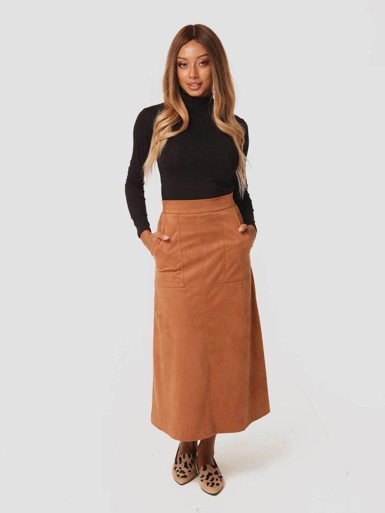 Zamszowa spódnica midi w kolorze karmelowym Katarina Ivanenko (zdjęcie 4)