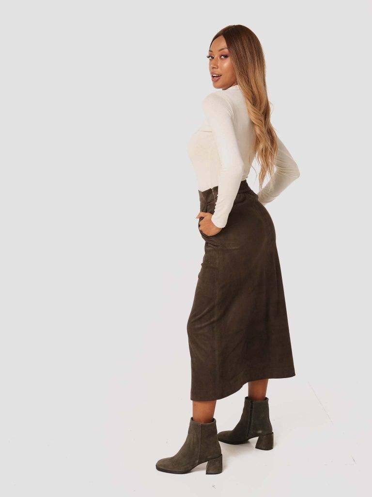Zamszowa spódnica midi w kolorze khaki Katarina Ivanenko (zdjęcie 2)