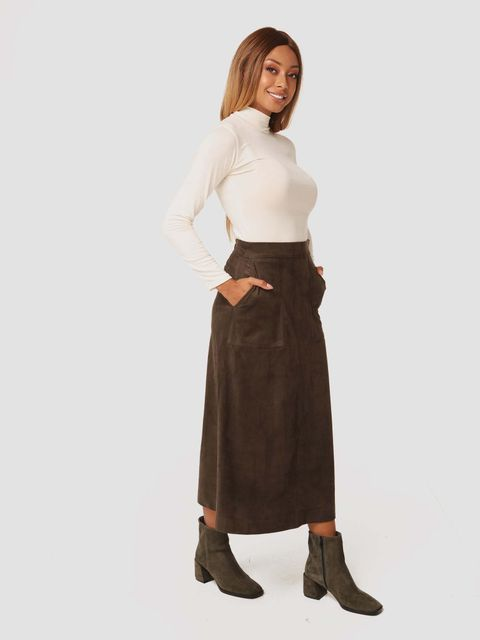 Zamszowa spódnica midi w kolorze khaki Katarina Ivanenko (zdjęcie 3)