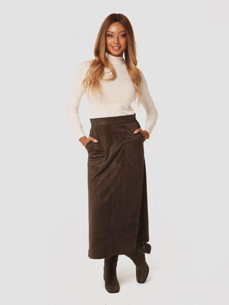 Zamszowa spódnica midi w kolorze khaki Katarina Ivanenko (zdjęcie 4)