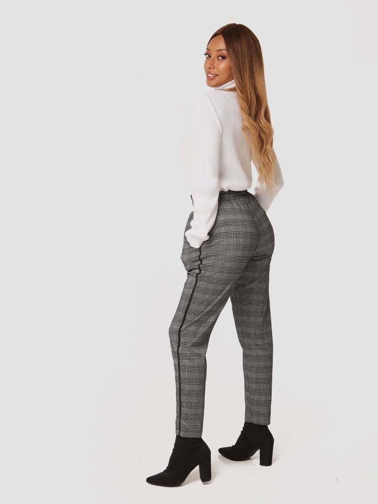 Czarno-białe spodnie z wiązaniem w pasie Katarina Ivanenko (zdjęcie 3)