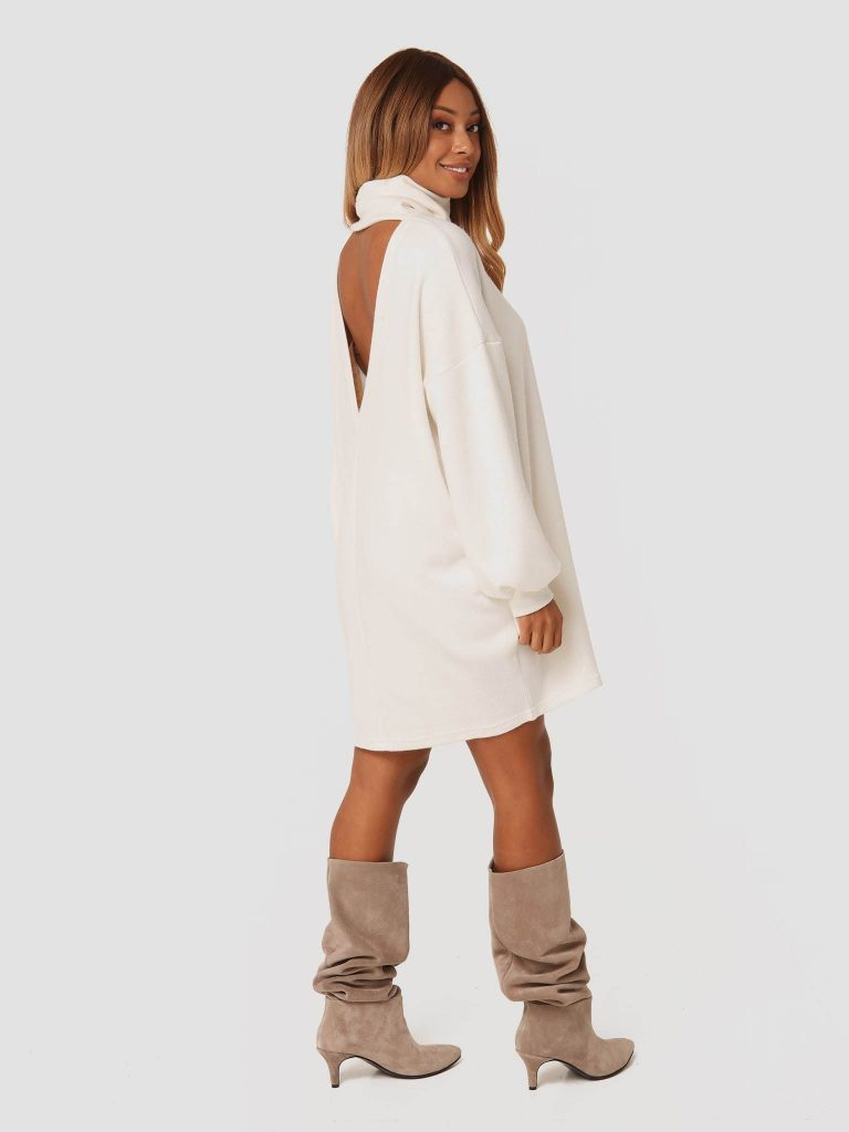 Beżowa sukienka midi z odkrytymi plecami Katarina Ivanenko