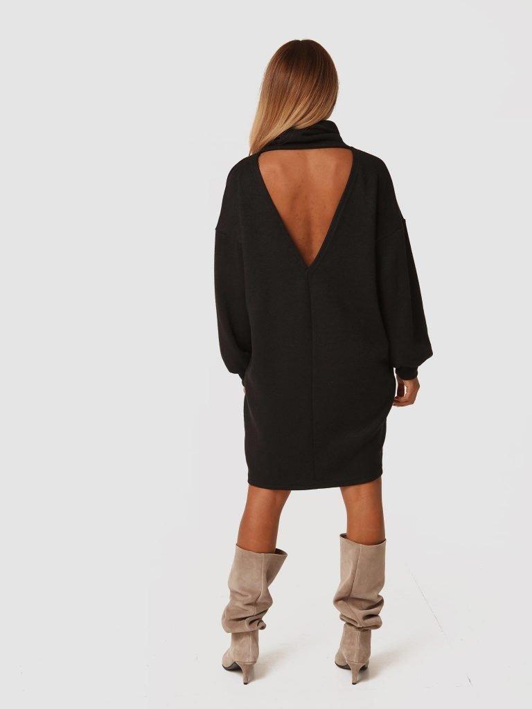 Czarna sukienka midi z odkrytymi plecami Katarina Ivanenko