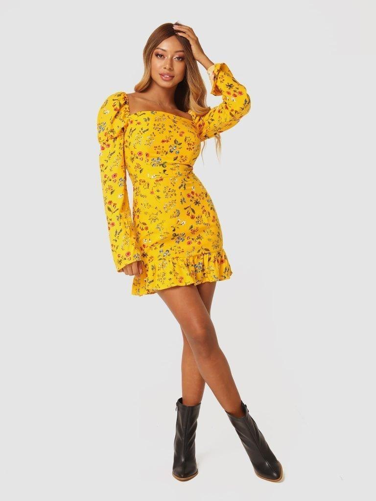 Żółta sukienka mini w kwiaty z falbanką Love&Live (zdjęcie 4)