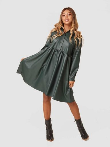 Sukienka midi w kolorze zielonej eko skóry Katarina Ivanenko