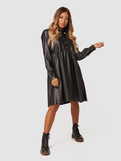 Sukienka midi z czarnej ekoskóry Katarina Ivanenko (zdjęcie 2)