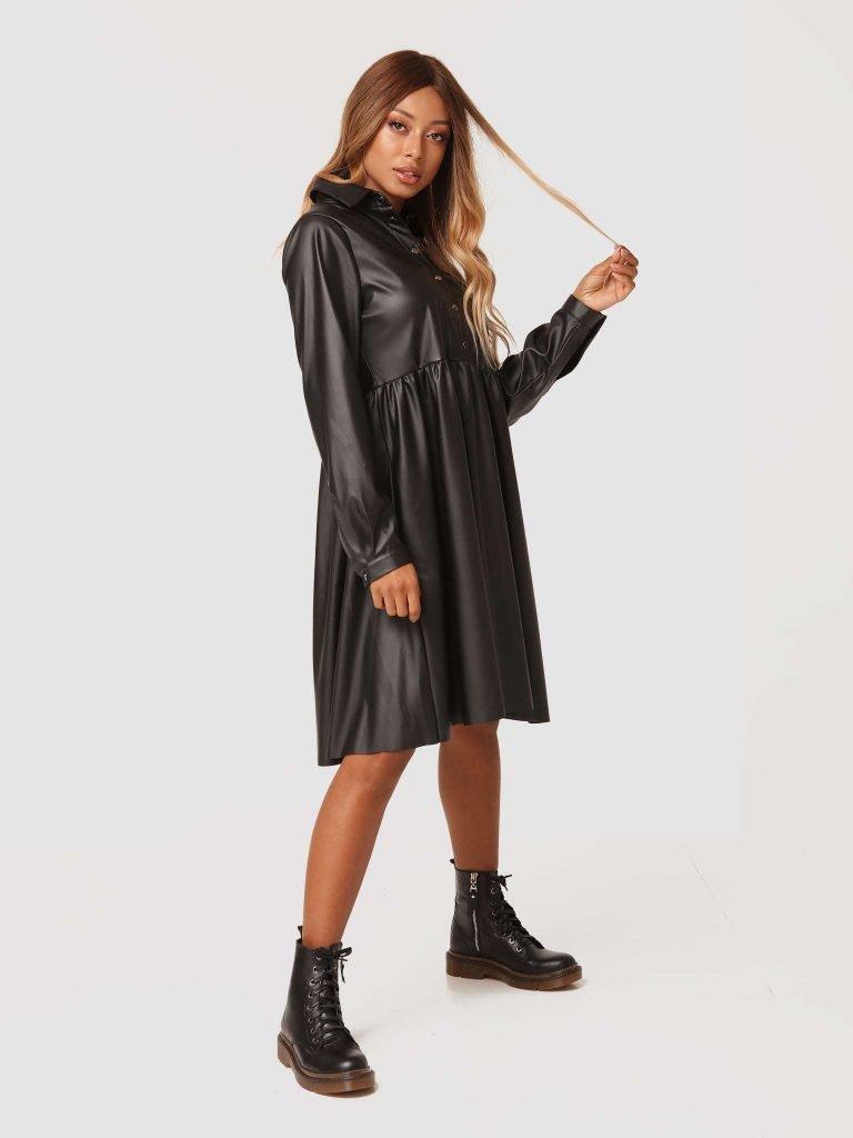 Sukienka midi z czarnej ekoskóry Katarina Ivanenko (zdjęcie 3)