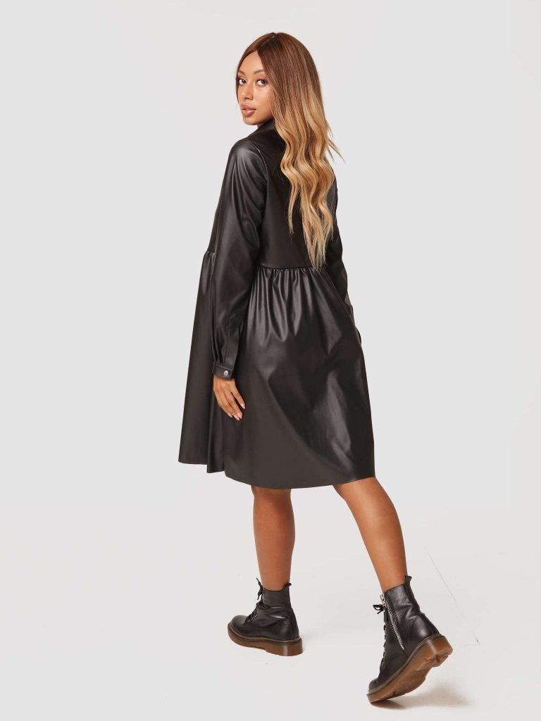 Sukienka midi z czarnej ekoskóry Katarina Ivanenko (zdjęcie 4)
