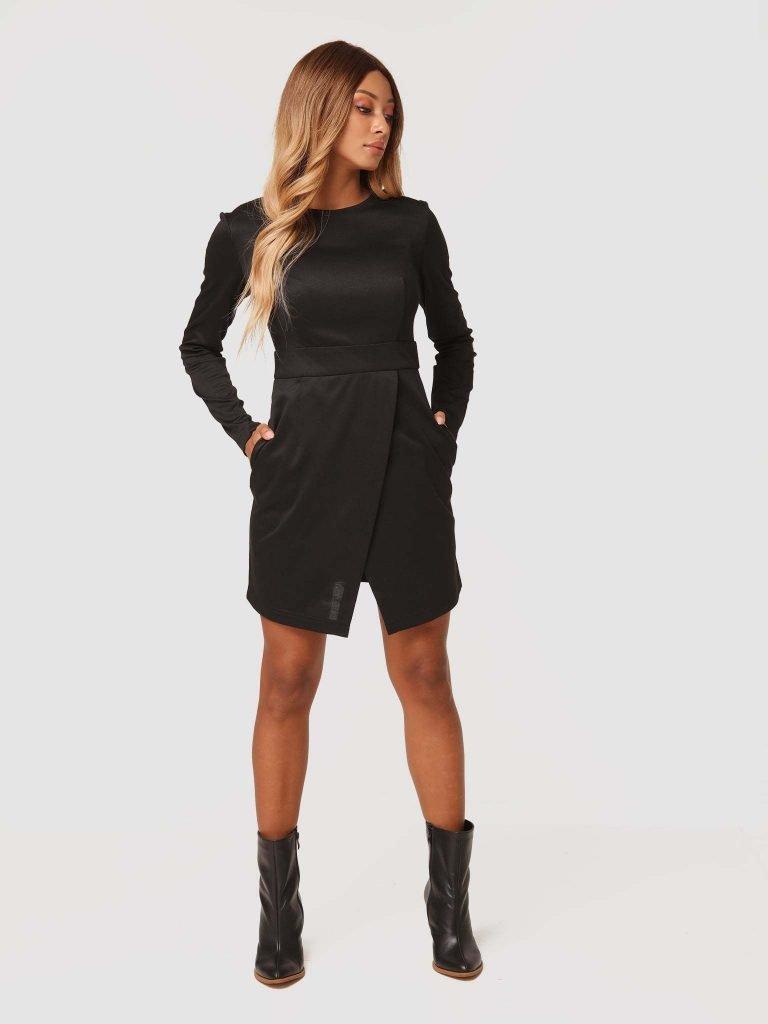 Sukienka mini w kolorze czarnym z imitacją kopertowej spódnicy Katarina Ivanenko (zdjęcie 2)