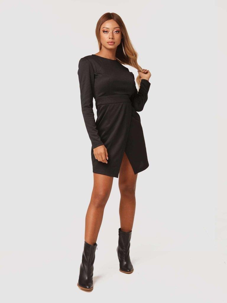 Sukienka mini w kolorze czarnym z imitacją kopertowej spódnicy Katarina Ivanenko (zdjęcie 3)