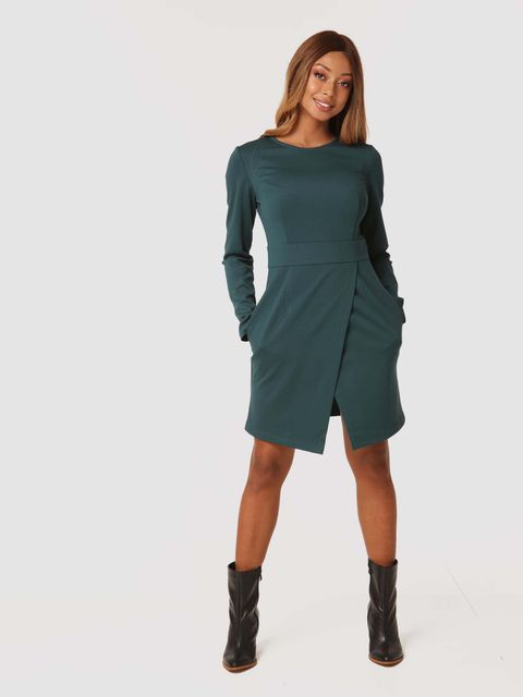 Sukienka mini w kolorze zielonym z imitacją kopertowej spódnicy Katarina Ivanenko
