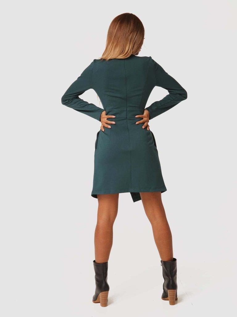 Sukienka mini w kolorze zielonym z imitacją kopertowej spódnicy Katarina Ivanenko (zdjęcie 4)