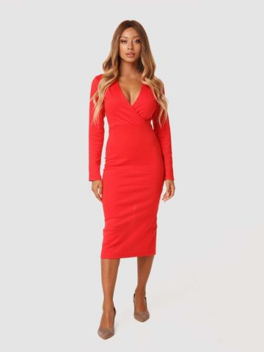 Czerwona sukienka midi z dżerseju Katarina Ivanenko