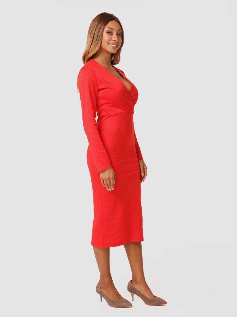 Czerwona sukienka midi z dżerseju Katarina Ivanenko (zdjęcie 2)