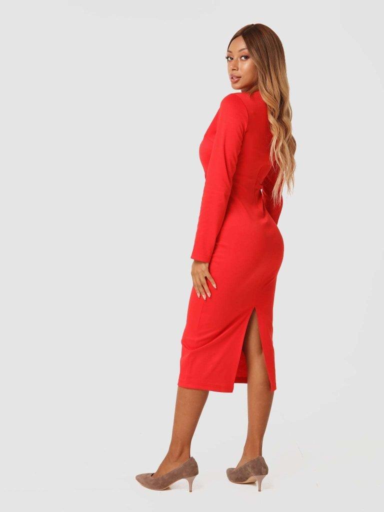 Czerwona sukienka midi z dżerseju Katarina Ivanenko (zdjęcie 3)