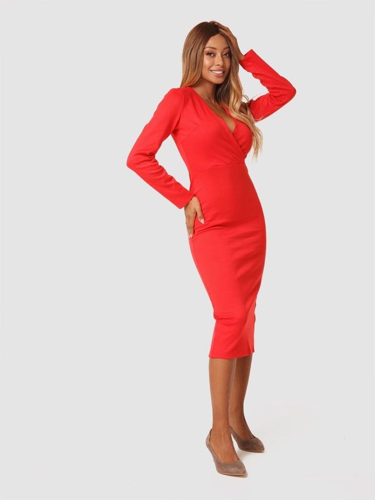Czerwona sukienka midi z dżerseju Katarina Ivanenko (zdjęcie 4)