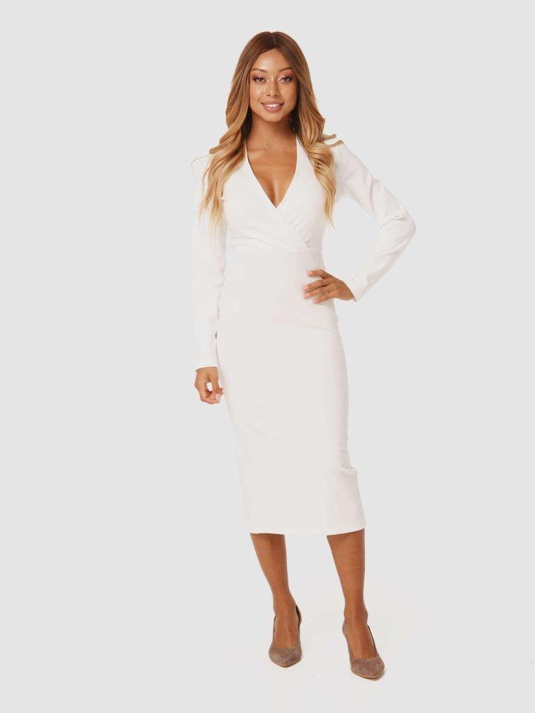 Sukienka midi w kolorze złamanej bieli z dżerseju Katarina Ivanenko (zdjęcie 2)