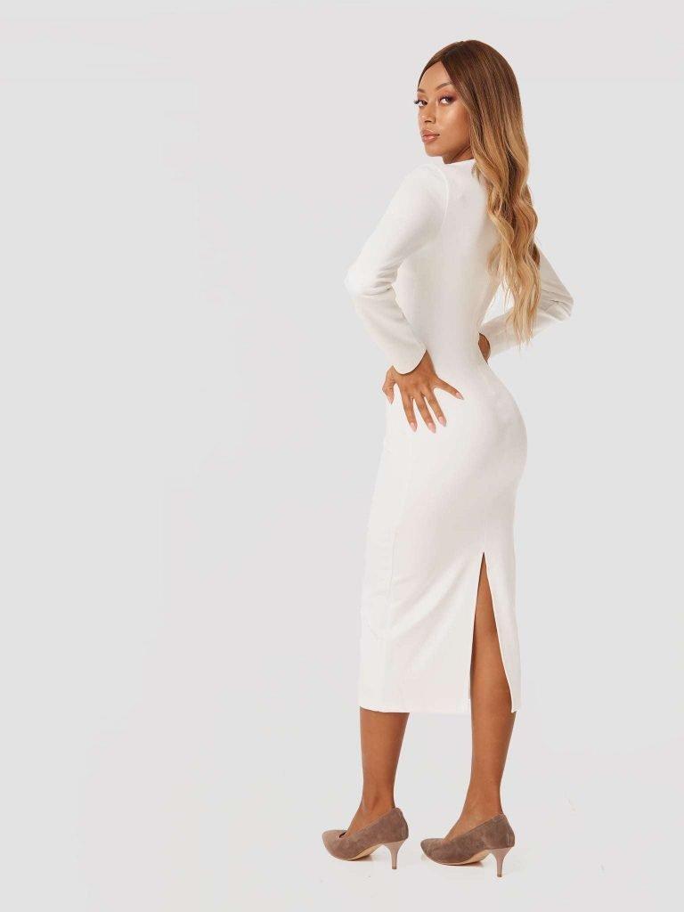 Sukienka midi w kolorze złamanej bieli z dżerseju Katarina Ivanenko (zdjęcie 3)