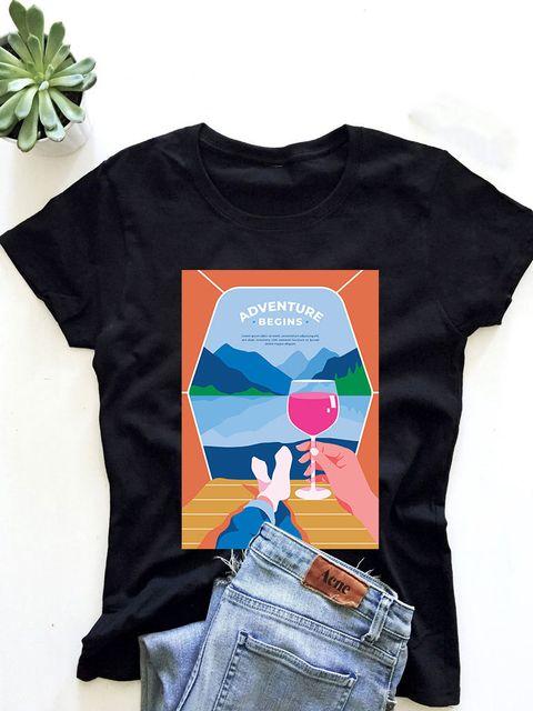 T-shirt męski czarny Adventure begins ZUZU
