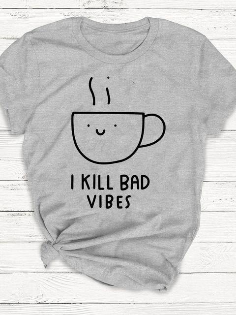 T-shirt męski szary Coffee - I kill bed vibes ZUZU