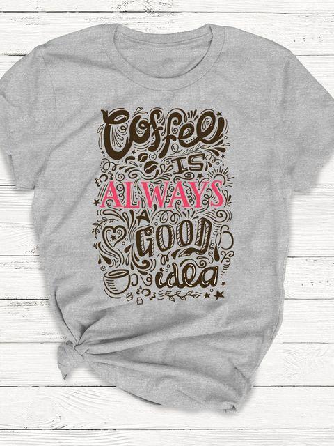T-shirt męski szary Coffee is always a good idea ZUZU