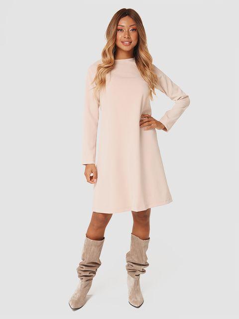 Trapezowa sukienka mini w kolorze beżowym Katarina Ivanenko