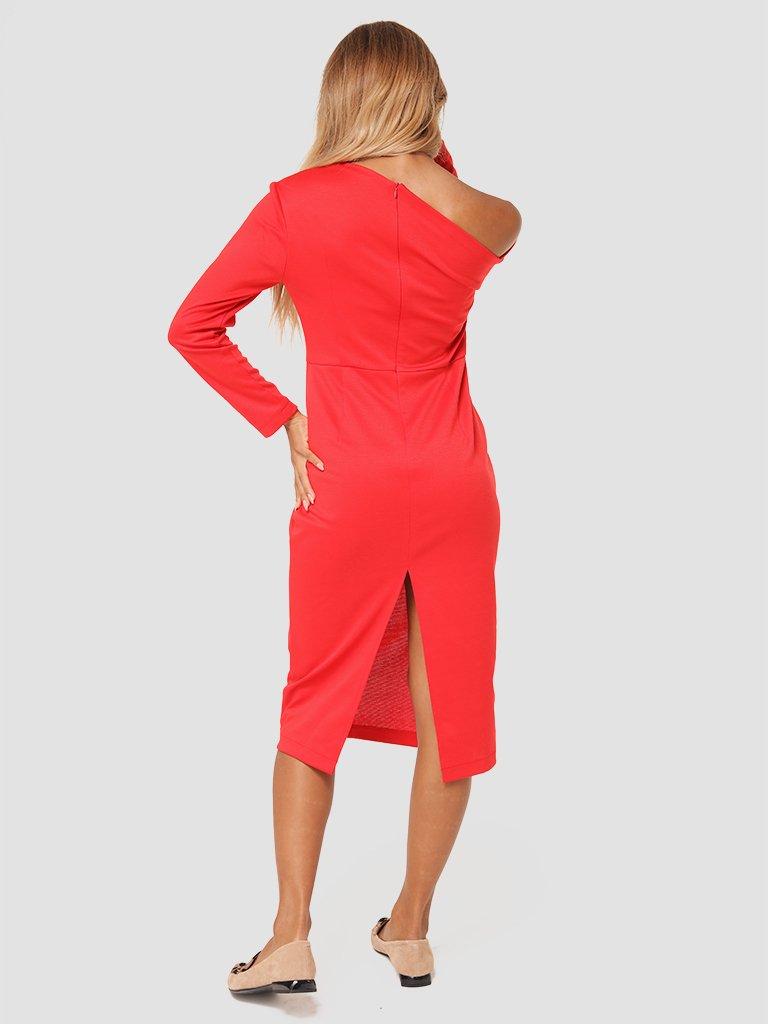 Sukienka midi z asymetrycznym dekoltem w kolorze czerwonym Love&Live (zdjęcie 4)