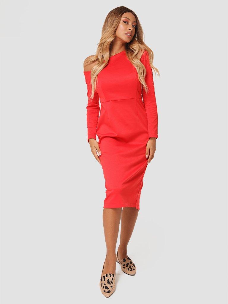 Sukienka midi z asymetrycznym dekoltem w kolorze czerwonym Love&Live (zdjęcie 2)