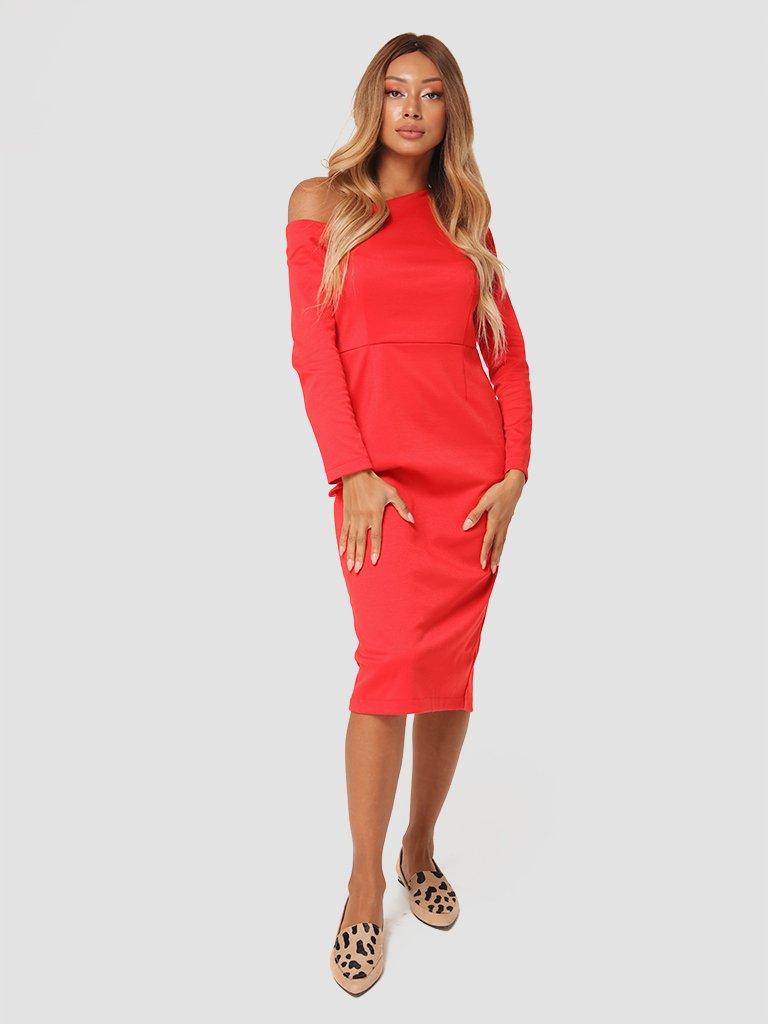 Sukienka midi z asymetrycznym dekoltem w kolorze czerwonym Love&Live (zdjęcie 3)