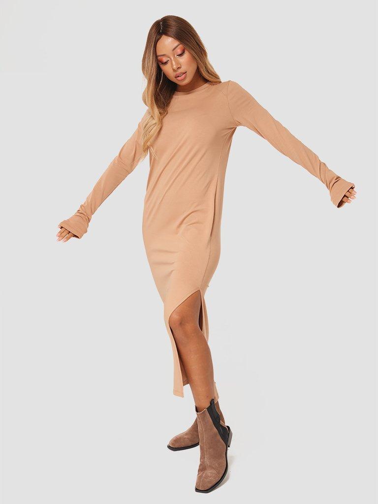 Sukienka midi w kolorze beżowym Love&Live (zdjęcie 2)
