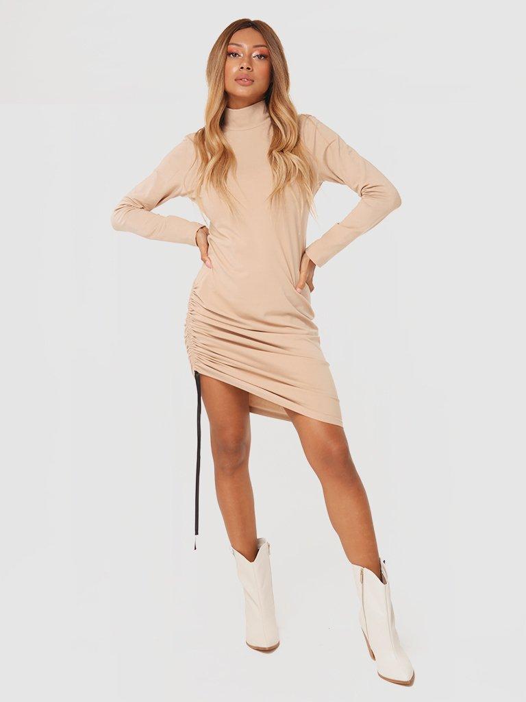 Sukienka mini ze ściągaczem w kolorze beżowym Katarina Ivanenko (zdjęcie 2)