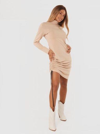 Sukienka mini ze ściągaczem w kolorze beżowym Katarina Ivanenko