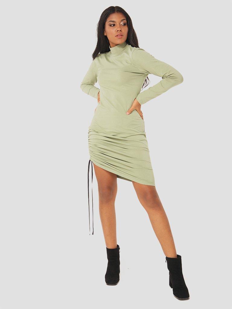 Sukienka mini ze ściągaczem w kolorze oliwkowym Katarina Ivanenko