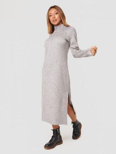 Sukienka midi z ciepłej dzianiny w kolorze szarym Katarina Ivanenko