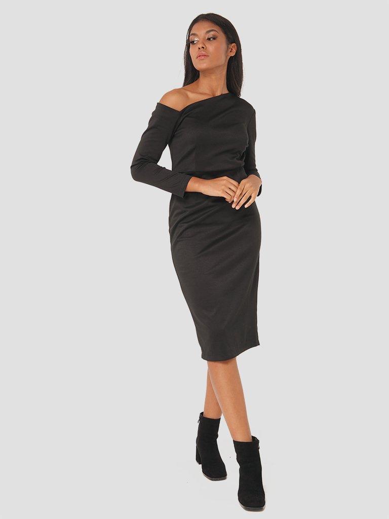 Sukienka midi z asymetrycznym dekoltem w kolorze czarnym Love&Live