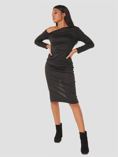 Sukienka midi z asymetrycznym dekoltem w kolorze czarnym Love&Live (zdjęcie 2)