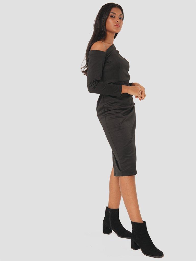 Sukienka midi z asymetrycznym dekoltem w kolorze czarnym Love&Live (zdjęcie 3)