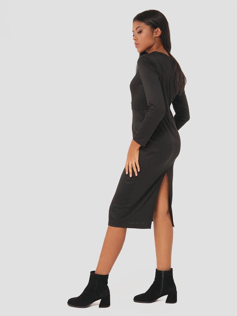 Sukienka midi z asymetrycznym dekoltem w kolorze czarnym Love&Live (zdjęcie 4)