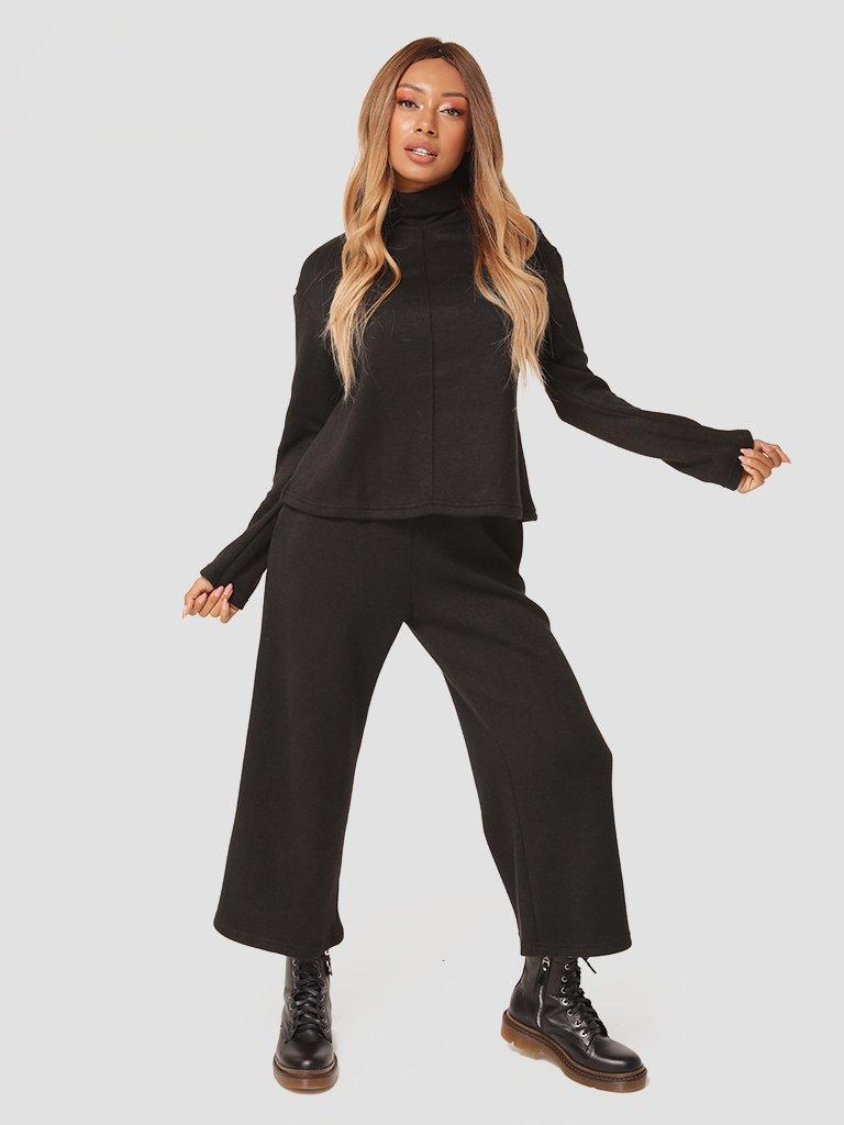 Czarny zestaw z angory (sweter, spodnie) Katarina Ivanenko (zdjęcie 2)
