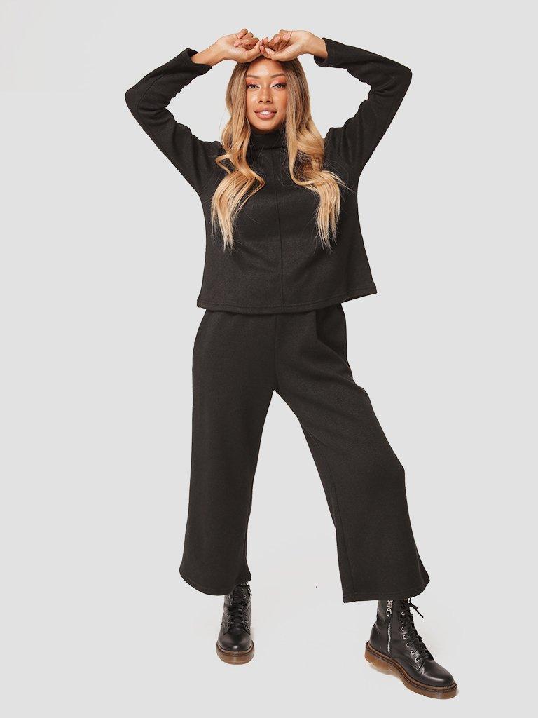 Czarny zestaw z angory (sweter, spodnie) Katarina Ivanenko (zdjęcie 3)
