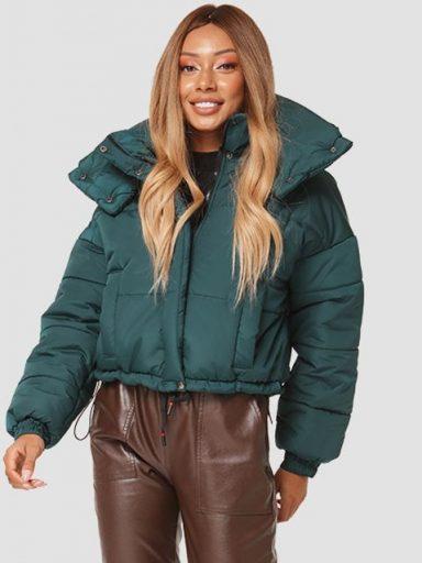 Pikowana zielona kurtka z odpinanym kołnierzem Love&Live
