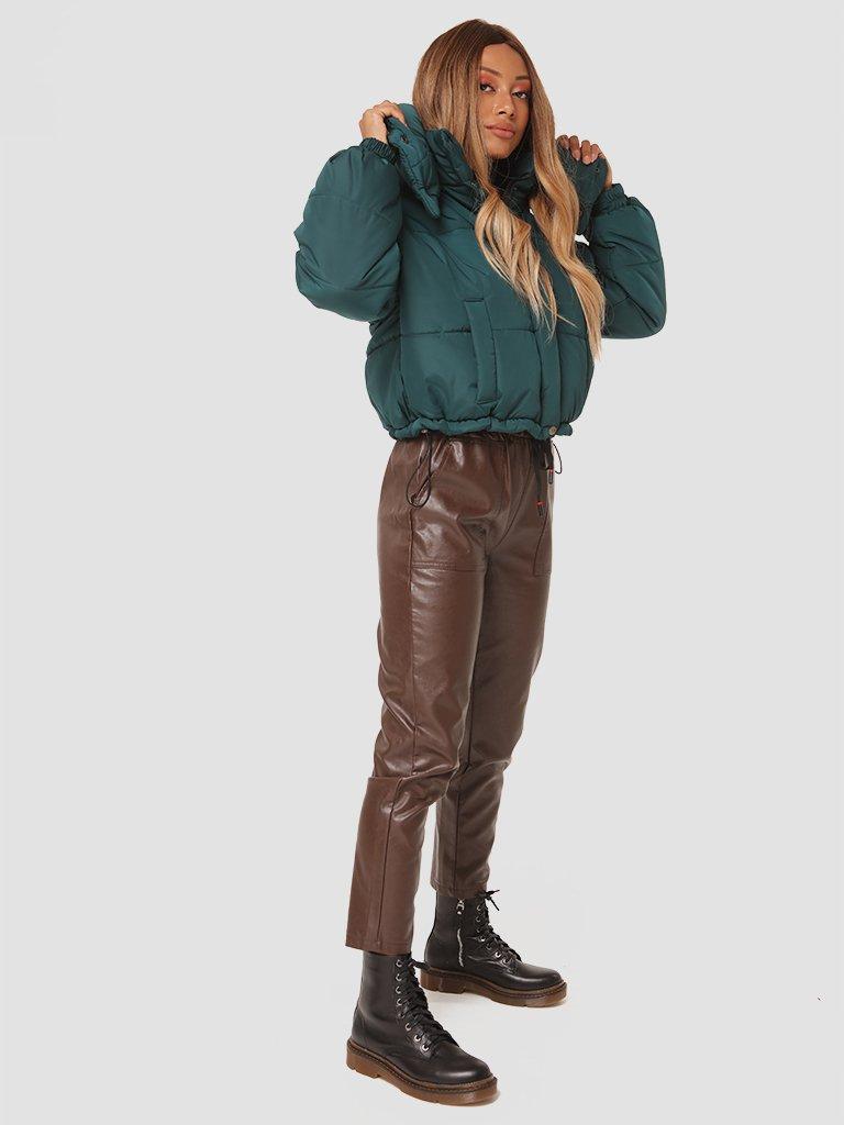 Pikowana zielona kurtka z odpinanym kołnierzem Love&Live (zdjęcie 3)