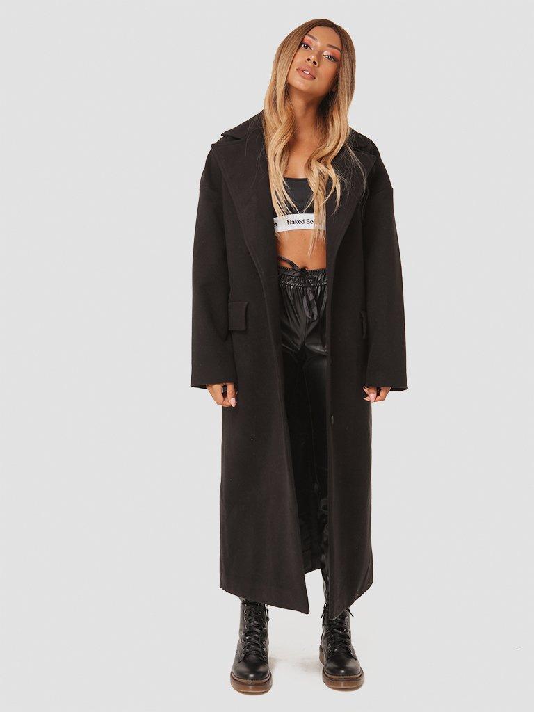Czarny płaszcz z paskiem Katarina Ivanenko (zdjęcie 2)