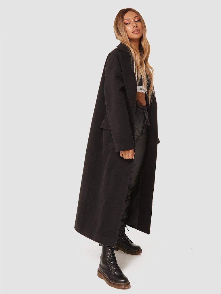 Czarny płaszcz z paskiem Katarina Ivanenko (zdjęcie 3)