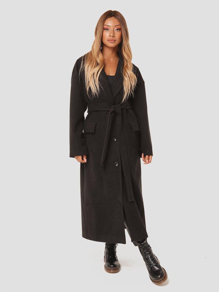 Czarny płaszcz z paskiem Katarina Ivanenko (zdjęcie 4)
