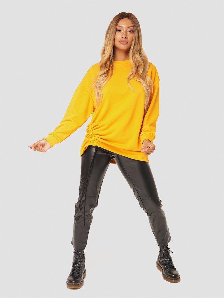 Sweter w kolorze musztardowym ze ściągaczem Katarina Ivanenko (zdjęcie 4)
